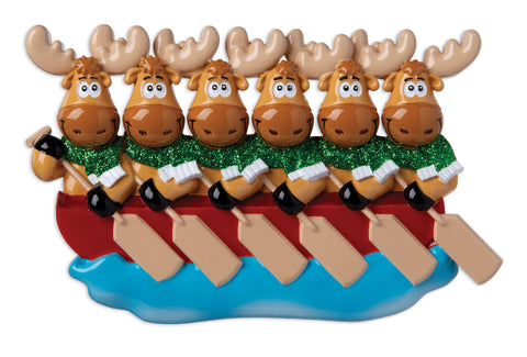 OR1912-6 - Moose Family of 6 On Canoe  Personalized Christmas Ornament