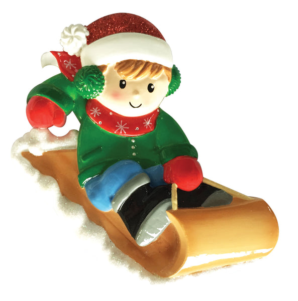 OR1913-B - Boy On Sled Personalized Christmas Ornament