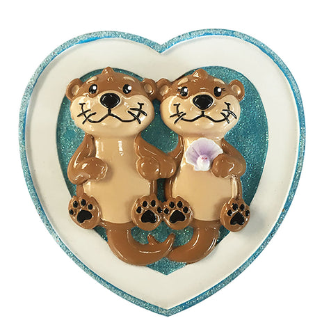 OR1914-2 - Otter Couple Personalized Christmas Ornament