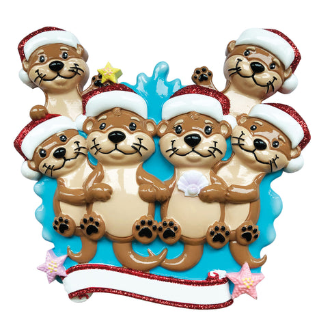 OR1914-6 - Otter Family of 6 Personalized Christmas Ornament