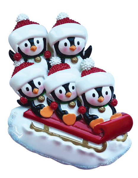 OR1915-5 - Penguin Family of 5 On Sled Personalized Christmas Ornament