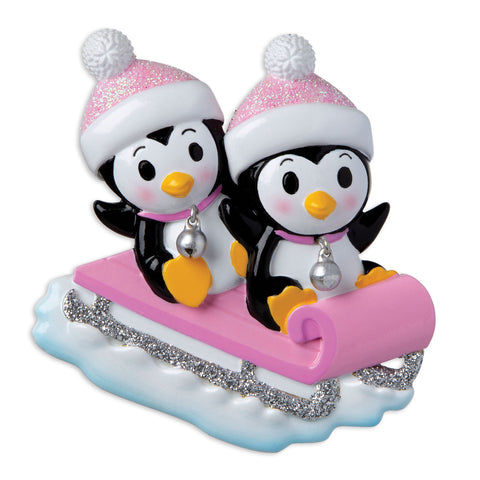 OR1915-A - Twins On Sled (4 Blue/Blue, 4 Pink/Blue, 4 Pink/Pink) Personalized Christmas Ornament