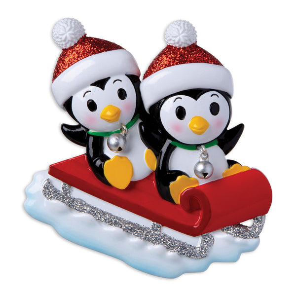 OR1915-2 - Penguin Couple On Red Sled Personalized Christmas Ornament