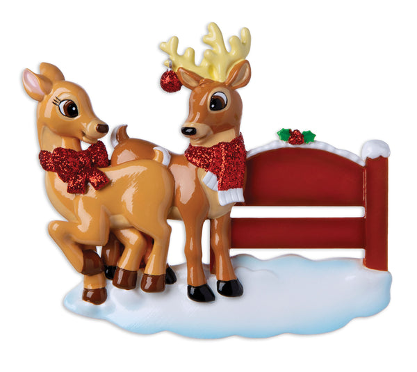 OR1916 - Reindeer Couple with Park Sign Personalized Christmas Ornament