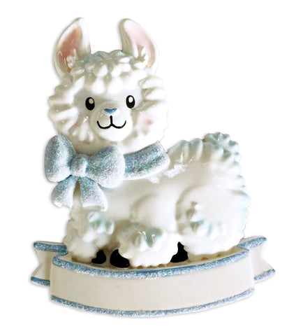 OR1917-B - Baby Boy Llama (Light Blue) Personalized Christmas Ornament