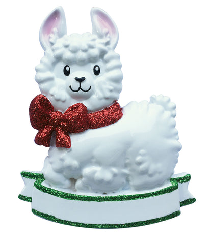 OR1917-RG - Baby Girl Llama (Red) Personalized Christmas Ornament
