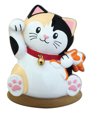 OR1918 - Lucky Cat Personalized Christmas Ornament
