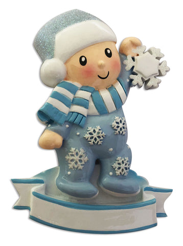 OR1920-B - Baby Boy In Pajamas Holding Snowflake (Blue) Personalized Christmas Ornament
