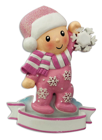 OR1920-P - Baby Girl In Pajamas Holding Snowflake-Pink Personalized Christmas Ornament