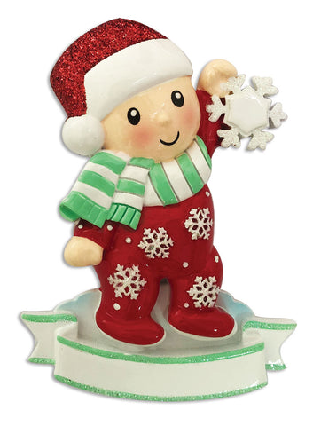 OR1920-RG - Baby Girl In Pajamas Holding Snowflake-Red&Green Personalized Christmas Ornament