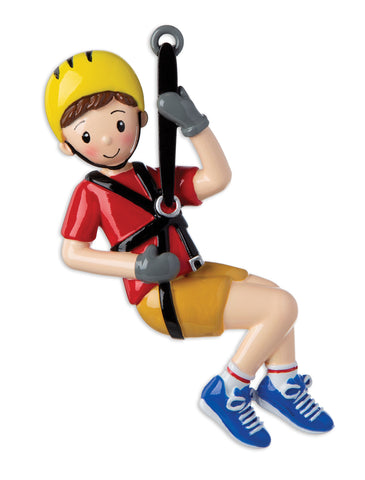OR1930-B - Zip Line (Boy) Personalized Christmas Ornament