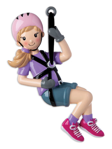 OR1930-G - Zip Line (Girl) Personalized Christmas Ornament