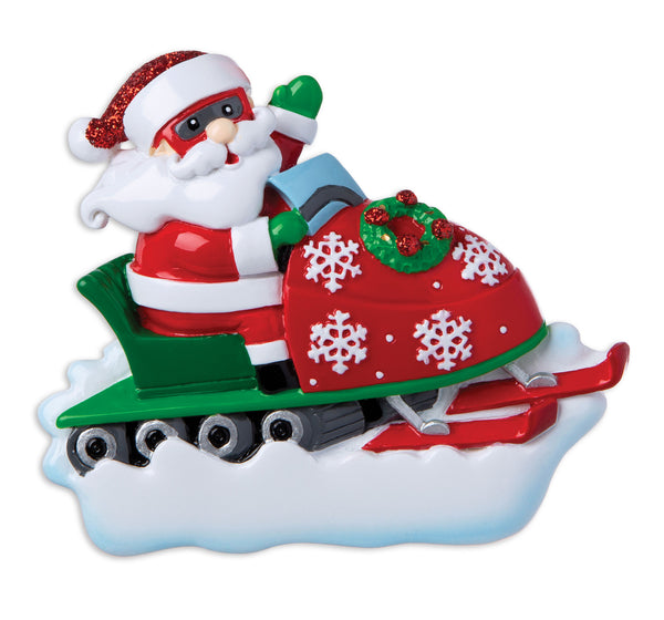 OR1948 - Santa On Snow Mobile Personalized Christmas Ornament