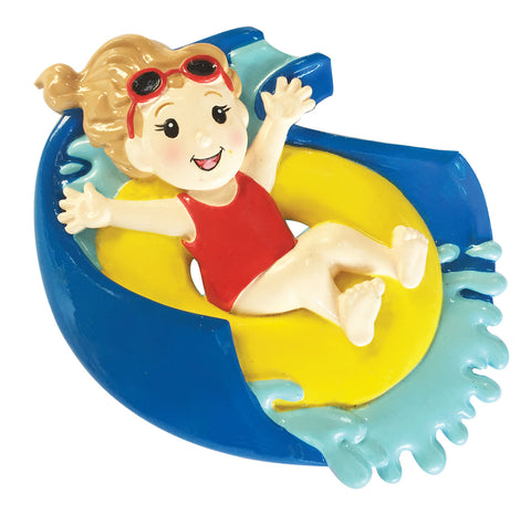 OR1957-G - Water Slide Girl Personalized Christmas Ornament