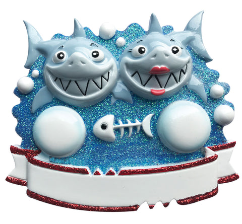 OR1969-2 - Shark Family of 2 Personalized Christmas Ornament