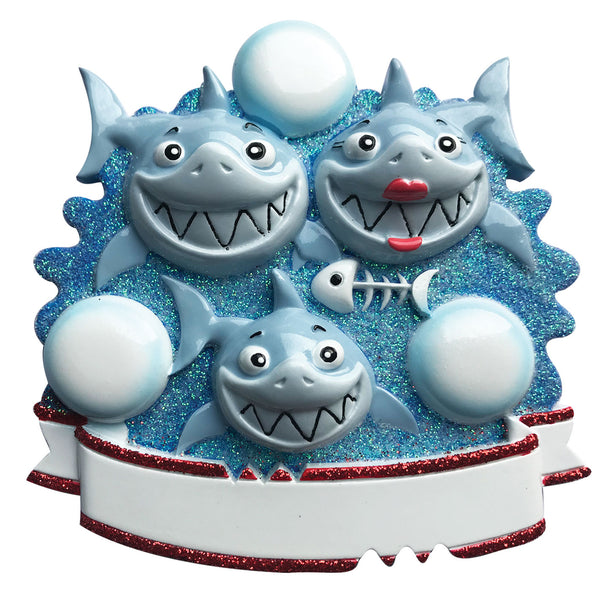OR1969-3 - Shark Family of 3 Personalized Christmas Ornament