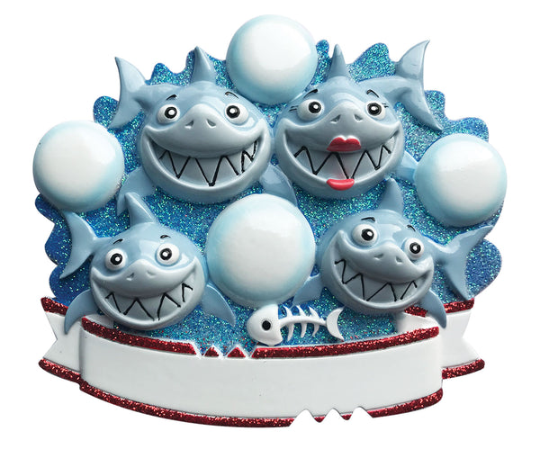 OR1969-4 - Shark Family of 4 Personalized Christmas Ornament