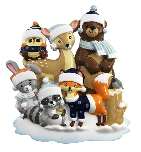 OR2019-6 - Woodland Family of 6 Personalized Christmas Ornament