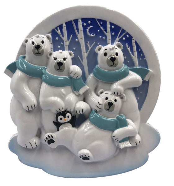 OR2022-4 - Polar Family of 4 Personalized Christmas Ornament