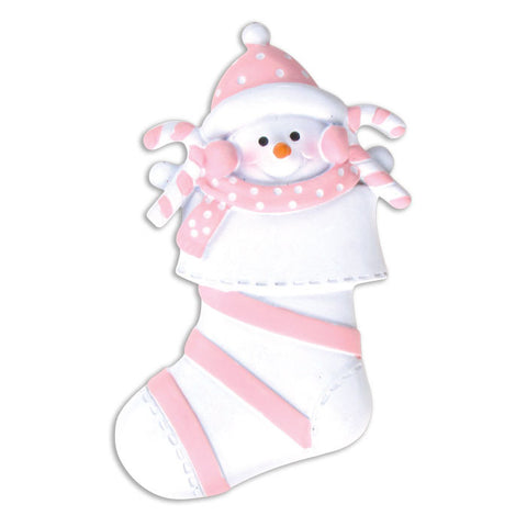 OR203-P - Snow Baby In Pink Stocking Personalized Christmas Ornament