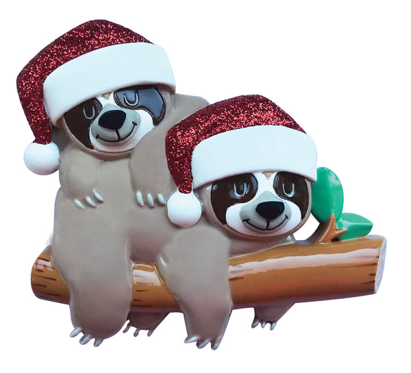 OR2032-2 - Sloth Family of 2 Personalized Christmas Ornament