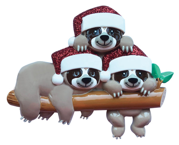 OR2032-3 - Sloth Family of 3 Personalized Christmas Ornament