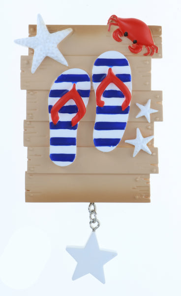 OR2033-2 - New Flip Flop Family of 2 Personalized Christmas Ornament