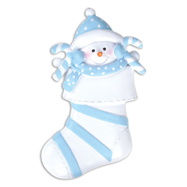 OR203-B - Snow Baby In Blue Stocking Personalized Christmas Ornament