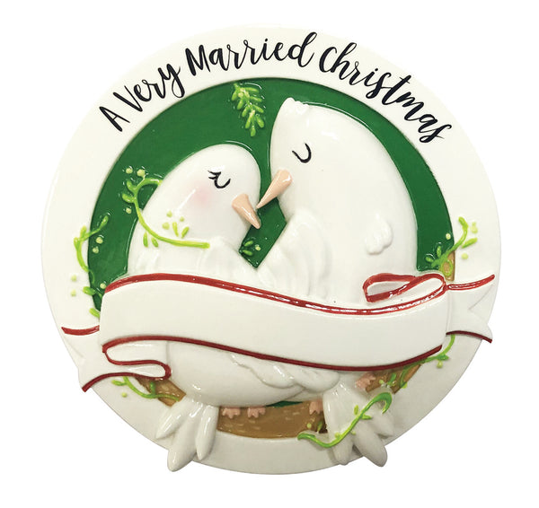 OR2196 - A Very Merry Xmas Dove Couple Personalized Christmas Ornament