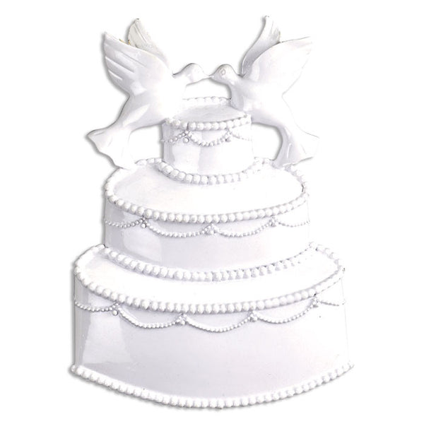 OR283 - White Event Wedding Cake Personalized Christmas Ornament