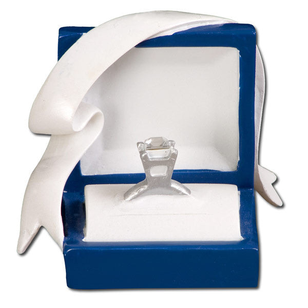 OR467 - Marry Me Blue Box Engagement Ring Personalized Christmas Ornament