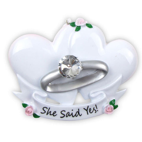 OR494 - Engagement Ring Personalized Christmas Ornament
