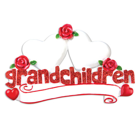 OR529-2 - Grandchildren with Two Hearts Personalized Christmas Ornament