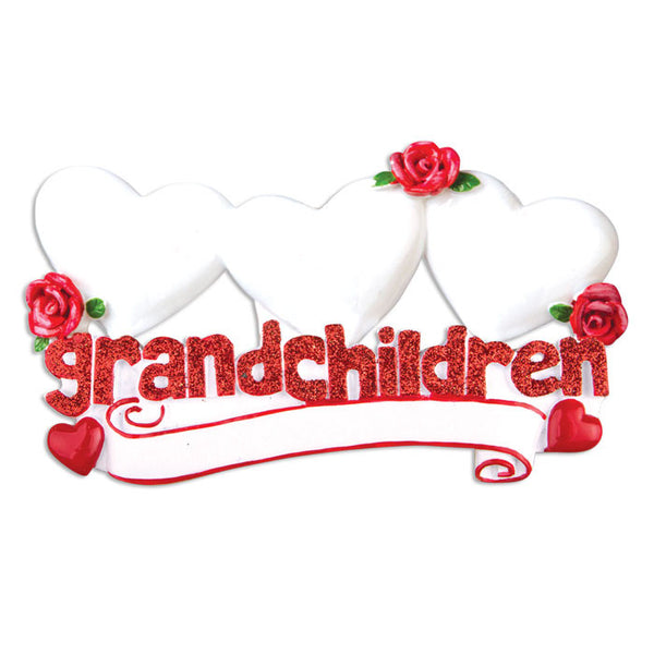 OR529-3 - Grandchildren with Three Hearts Personalized Christmas Ornament