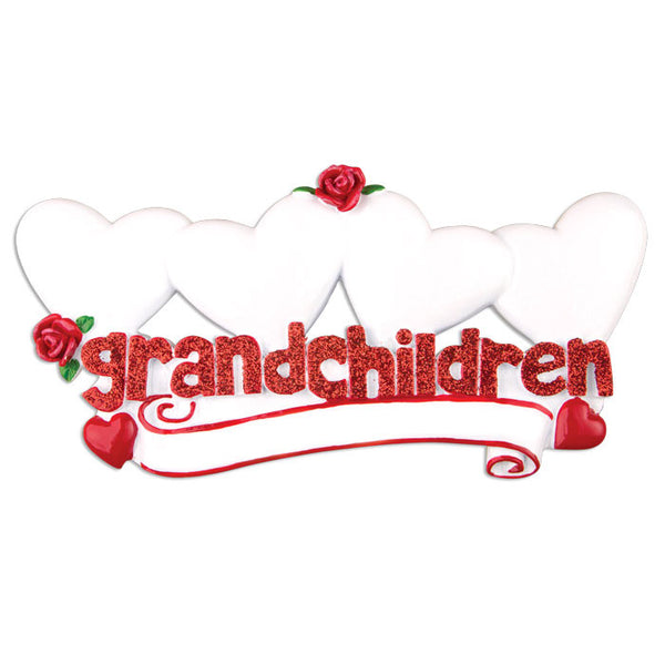 OR529-4 - Grandchildren with Four Hearts Personalized Christmas Ornament