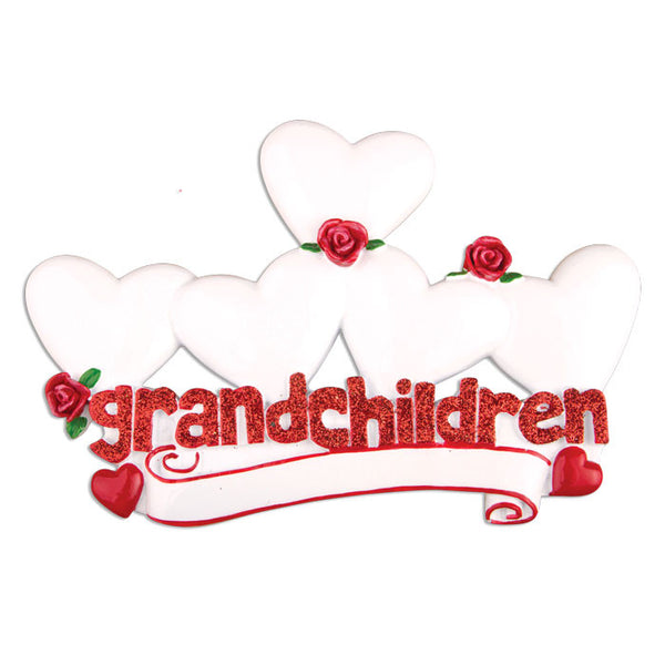 OR529-5 - Grandchildren with Five Hearts Personalized Christmas Ornament