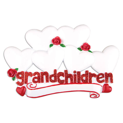 OR529-6 - Grandchildren with Six Hearts Personalized Christmas Ornament