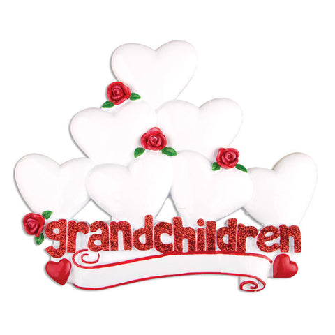 OR529-7 - Grandchildren with Seven Hearts Personalized Christmas Ornament