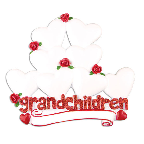 OR529-8 - Grandchildren with Eight Hearts Personalized Christmas Ornament
