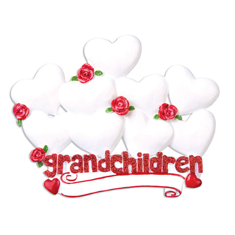 OR529-9 - Grandchildren with Nine Hearts Personalized Christmas Ornament
