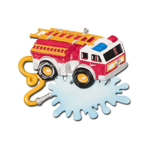 OR638 - Fire Truck with Banner Personalized Christmas Ornament
