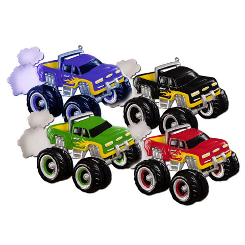 OR641-A - General Monster Truck (3 Red, 3 Black, 3 Blue and 3 Green) Personalized Christmas Ornament