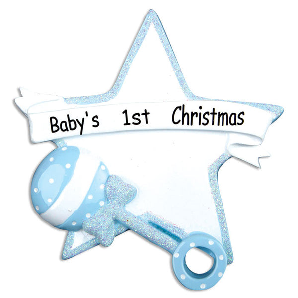 OR668-B - Blue Baby Rattle/Star Personalized Christmas Ornament