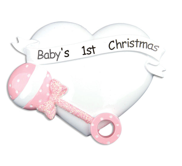 OR668-P - Pink Baby Rattle/Heart Personalized Christmas Ornament