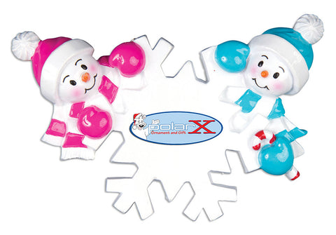 OR703-2 - Falling Snowmen Family of 2 Personalized Christmas Ornament