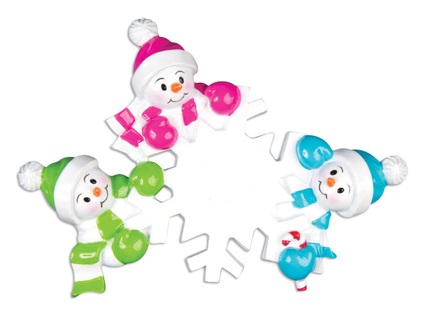 OR703-3 - Falling Snowmen Family of 3 Personalized Christmas Ornament