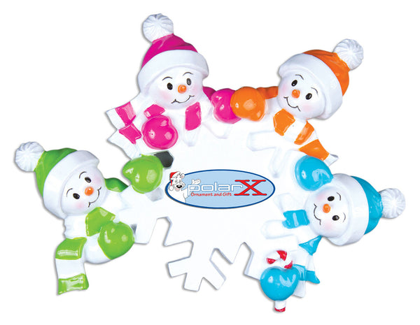 OR703-4 - Falling Snowmen Family of 4 Personalized Christmas Ornament