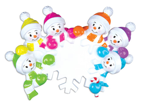 OR703-6 - Falling Snowmen Family of 6 Personalized Christmas Ornament