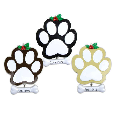 OR712-A - Dog Paw (4 Black, 4 Tan, 4 Brown) Personalized Christmas Ornament