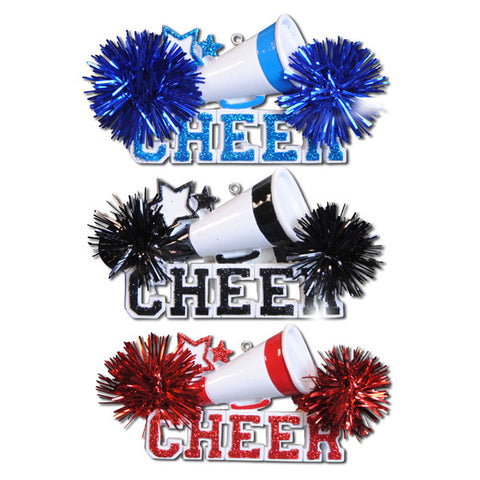 OR731-A - Cheer (4-Blue, 4-Red and 4-Black) Personalized Christmas Ornament